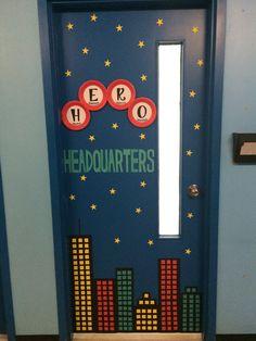 Door decoration for our Hero Theme. From Special Ed. Superhero Classroom Door, Superhero School Theme, School Themes, Preschool Classroom, Superhero Party, Superhero Door Decorations Teachers, Superhero Bulletin Boards, Batman Party, Kindergarten