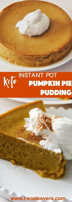 Sideways shot of a slice of crustless pumpkin pie. Perfect, crustless pumpkin pie pudding makes a lovely keto, low carb pumpkin pie dessert in your Instant Pot or Pressure cooker. This is an easy dump and go dessert.