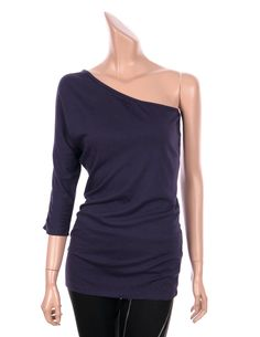 VICTORIA Sexy One Shoulder 3/4 Sleeve Slim Fit Tops Tees T Shirts Dark Purple sz #VictoriasSecret #Sexy #Casual