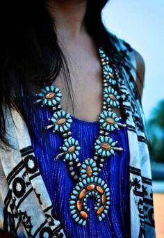 Antique Navajo squash blossom necklace.