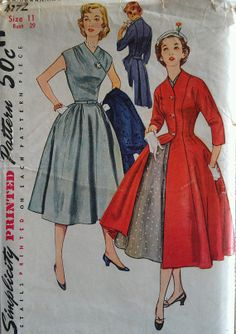 Vintage 50s New Look Surplice Cap Sleeve Full Skirt by misshelenes, $22.99