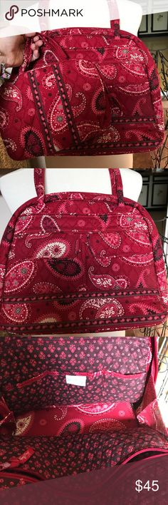 Vera Bradley two piece satchel set (Mesa Red) Beautiful berry and maroon colored two piece satchel and makeup bag set! This set would look great for the holidays or just any day. The little make-up bag is just to cute with tiny handles which would make it great to use if you just needed to grab something small and leave the larger bag behind. This is a retired pattern ( Mesa Red) and in gently used condition! GREAT set! Non- smoking home and fast shipper! Happy Poshing! ❤️😁 Vera Bradley…