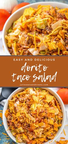 Dorito Taco Salad Recipe, Taco Salad Doritos, Taco Salad Recipes, Beef Recipes, Cooking Recipes, Chicken Nachos, Easy Taco Salad Recipe, Kitchen Recipes, Chicken Salad