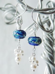 Ocean Cluster Earrings  -SOLD- View more at https://www.etsy.com/shop/KreationsbyKarenNB