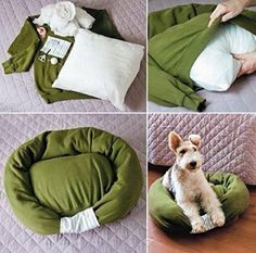 DIY Pet Bed From Old Shirt & Sweater.  How to--> http://wonderfuldiy.com/wonderful-diy-pet-bed-from-old-shirt-sweater/
