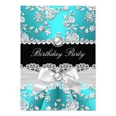 Teal Blue Birthday Party Black White Damask Rose Custom Invites