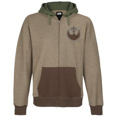 - Colour-contrasting hood with Yoda ears and decorative stitching - Embroidered patch on the chest - Covered zip - Colour-contrasting kangaroo pocket - Colour-contrasting ribbed cuffs   The green-coloured hood with Yoda ears and decorative seams is clearly the highlight of this awesome hoodie. The front sports an embroidered patch. The practical, concealed centre zip passes through the brown, colour-contrasting kangaroo pockets and rib cuffs. Perfect for Star Wars fans!
