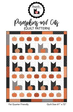 Pumpkins and Cats Quilt Pattern - My Girlfriends Quilt Shoppe Halloween Quilt Patterns, Cat Quilt Patterns, Halloween Quilts, Halloween Table, Halloween Crafts, Happy Halloween, Ty Dye, Nautical Quilt, Paper Quilt