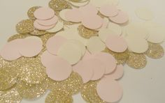 Rose Gold Blush Pink & Cream Confetti Glitter Confetti Wedding Confetti metallic confetti Table Confetti Invitation Bridal or Baby Shower by SignsationalSayings on Etsy https://www.etsy.com/listing/178322574/rose-gold-blush-pink-cream-confetti
