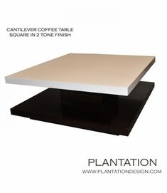 Cantilever Coffee Table | 2-Tone Square.  Can customize size, veneer, and wood finish.  plantationdesign.com