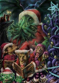 """Chtulhu and company don't make the best Christmas guests. Take a look at the """"tree."""""""