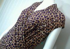 CHAPS Purple & Tan Brown Sleeveless  Poly spandex Mock-wrap Dress Sz 16 XL…