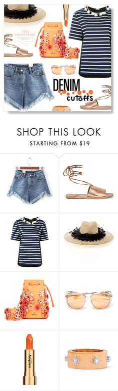 """""""Daisy Dukes..."""" by desert-belle ❤ liked on Polyvore featuring WithChic, Ancient Greek Sandals, Moncler, Gigi Burris Millinery, Marina Hoermanseder, Sisley, Buccellati, DENIMCUTOFFS and polyvoreeditorial"""