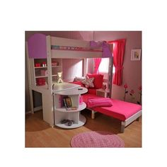 Stompa Combo Kids White Highsleeper Bed in Lilac with Lilac Sofa Bed Desk Shelving and Storage