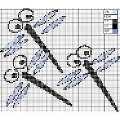 free chart dragonflies #crossstitch
