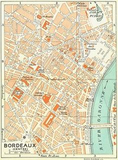 #France. #bordeaux(centre), 1926 #vintage map,  View more on the LINK: http://www.zeppy.io/product/gb/2/400580436031/