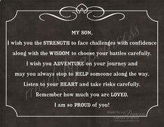 My Son, I Wish You Strength, Wisdom,  Adventure Strong Inspirational Quote INSTANT DOWNLOAD $5