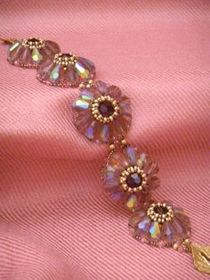 Amethyst crystal flower handbeaded braceletOOAK by SuziVeeJewelry, $55.00