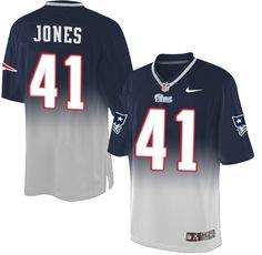 Men's Nike New England Patriots #41 Cyrus Jones Elite Navy/Grey Fadeaway NFL Jersey