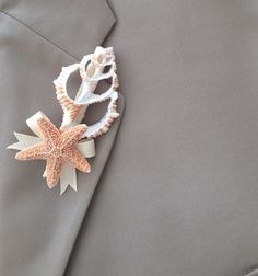 Beach Wedding Seashell Boutonniere Groom by SeashellCollection, $20.00
