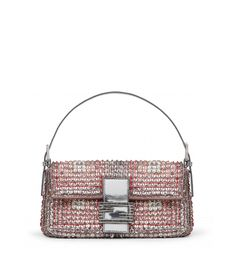 Sparkling baby pink embroidered Fendi Baguette bag sprinkled with sequins  and rhinestone clasp Pan Francés 3a6d275927859