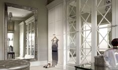 Mirrored wardrobe doors - English wardrobe Company - maybe bit fancy Mirrored Wardrobe Doors, Mirror Closet Doors, Built In Wardrobe, Mirror Door, Wardrobe Design, Floor Mirror, Home Theaters, Bedroom Wardrobe, Home Bedroom