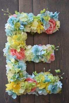 Custom Floral Letters - $68 by Bailey Begonia on Etsy! Nursery Floral Letter, Wedding Floral Letter, Floral Nursery Letter, Flower Letter Nursery, Flower Letter Wedding, Dorm Monogram Letters