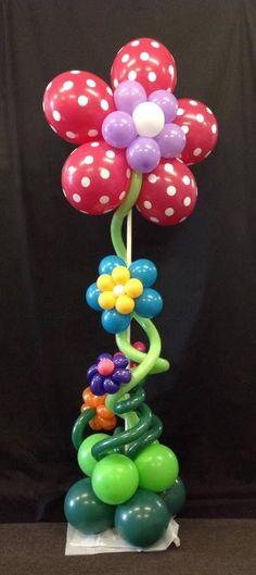 Polka Dot Flower Balloon Column