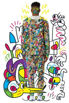 Piece from Jon Burgerman x Print All Over Me clothing collection