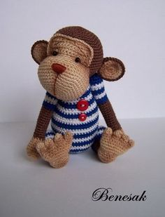 So darn precious, handmade crocheted monkey stuffed animal! Baby shower gift idea...