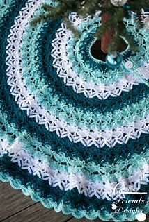 Teal Beautifully Textured Christmas Tree Skirt #crochetpattern by Crafting Friends Designs