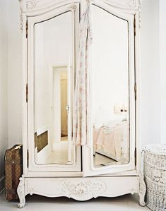Distressed white shabby chic mirrored armoire
