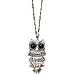 MANGO Long chain necklace with oversize owl pendant ($30) ❤ liked on Polyvore featuring jewelry, necklaces, accessories, collares, colares, oversized necklace, pendant jewelry, owl jewellery, mango jewelry and long chain necklace