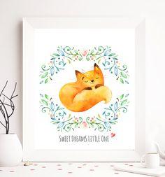 Nursery printable, sweet dreams, fox printable, animal nursery print, nursery animal wall decor, animal print, animal print art, printables