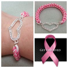 100% profit donated - breast cancer awareness rainbow loom bracelet