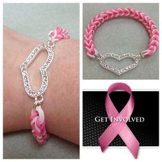 100% profit donated - breast cancer awareness rainbow loom bracelet