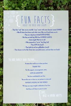 Fun facts about the bride and groom on the ceremony program! Love this idea. {Photo by Erin Lindsey Images}