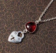 Red Quartz Heart-Lock Charm Necklace / by gemsnjewelryworld