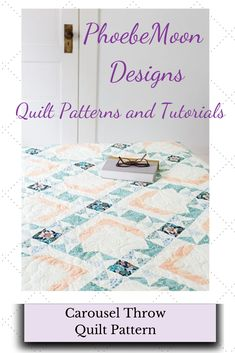 This whimsical quilt will make you smile! Featuring a delicate detailed border, this quilt utilizes an allover ribbon-like pattern that intersects at each floral block. Finishes approx 68 x Kit available at Connecting Threads. Scrappy Quilt Patterns, Hexagon Quilt, Scrappy Quilts, Quilting Projects, Quilting 101, Half Square Triangle Quilts, Pattern Designs, Moon Design, Queen