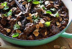 Hayden Quinn's beef casserole with dried plums recipe - Plum Recipes, Meat Recipes, Slow Cooker Recipes, Dried Plums, Dried Figs, High Protein Dinner, Cast Iron Cooking, Slow Cooking, Slow Cooked Beef