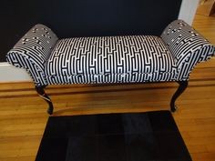 Contemporary twist on a traditional Queen Anne Bench. Vintage Chairs, Vintage Furniture, Outdoor Furniture, Outdoor Decor, Queen Anne, Unique Vintage, Love Seat, Custom Design, Bench