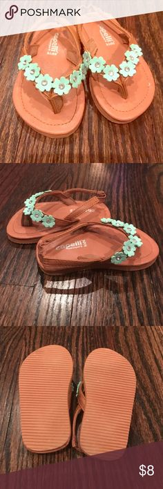 Capelli New York Toddler Girls Sandals Like new Tan Toddler Sandals with light Teal flower design with crystals. Flip flop with stretch back. Adorable for your little toddler! Toddler Size 5 Capelli of New York Shoes Sandals & Flip Flops