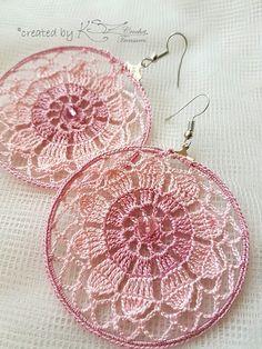 Crochet hoop earrings Pink earrings Crochet jewelry Daisy