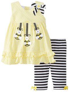 Amazon.com: Bonnie Baby Baby-Girls Newborn Bumblebee Applique Seersucker Top To Knit Capri, Yellow, 6-9 Months: Clothing