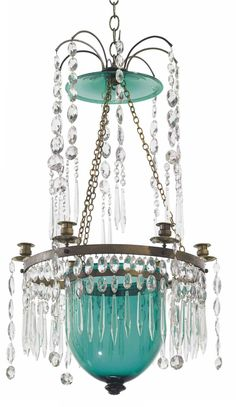 A RUSSIAN BRASS-MOUNTED GREEN AND COLORLESS CUT-GLASS SIX-LIGHT CHANDELIER LATE 18TH/EARLY 19TH CENTURY  Suspending cut-glass drop