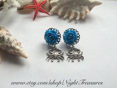 1 paire de boucle d'oreilles crabes argent par NightTreasures