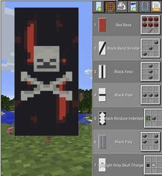 Bloody skeleton banner - Minecraft World Minecraft Banner Patterns, Cool Minecraft Banners, Minecraft Posters, Minecraft Room, Minecraft Decorations, Amazing Minecraft, Minecraft Crafts, Minecraft Designs, Minecraft Furniture