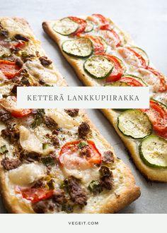 Ketterä lankkupiirakka - Vege it! Vegetable Pizza, Camembert Cheese, Zucchini, Snacks, Vegetables, Food Food, Appetizers, Vegetable Recipes, Veggie Food
