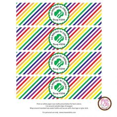 Girl Scout water bottle label printable for bridging ceremony in rainbow theme. #girlscouts