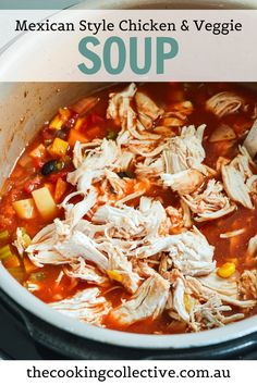 Try this comforting Mexican Soup with Chicken for your next meal! Loaded with chicken, black beans, vegetables and your favourite Mexican flavours, this healthy, bright and zingy soup is completely and utterly delicious and makes an easy meal that the whole family will love! Make it in a slow/pressure cooker or pot!